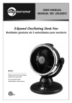 3-Speed Oscillating Desk Fan