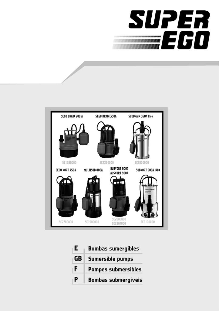 /Pompe submersible subdrain 350/A inoxydable Super-Ego se3500000/