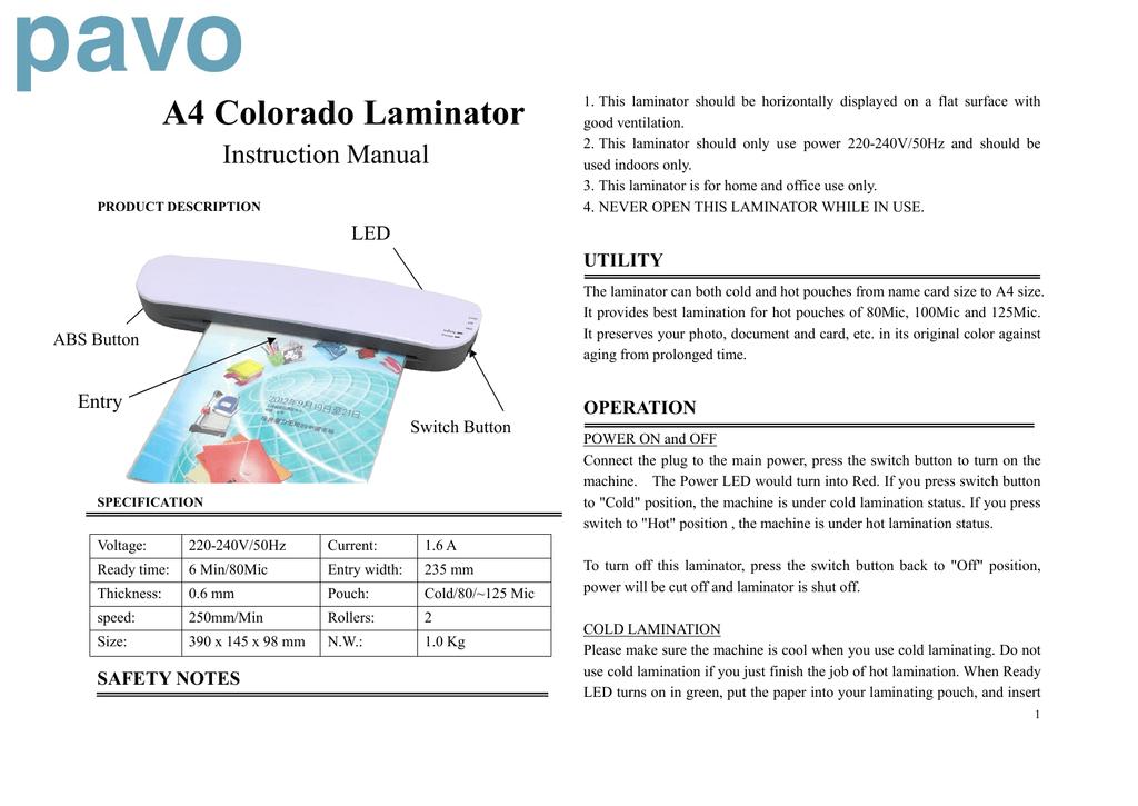 A4 Colorado Laminator