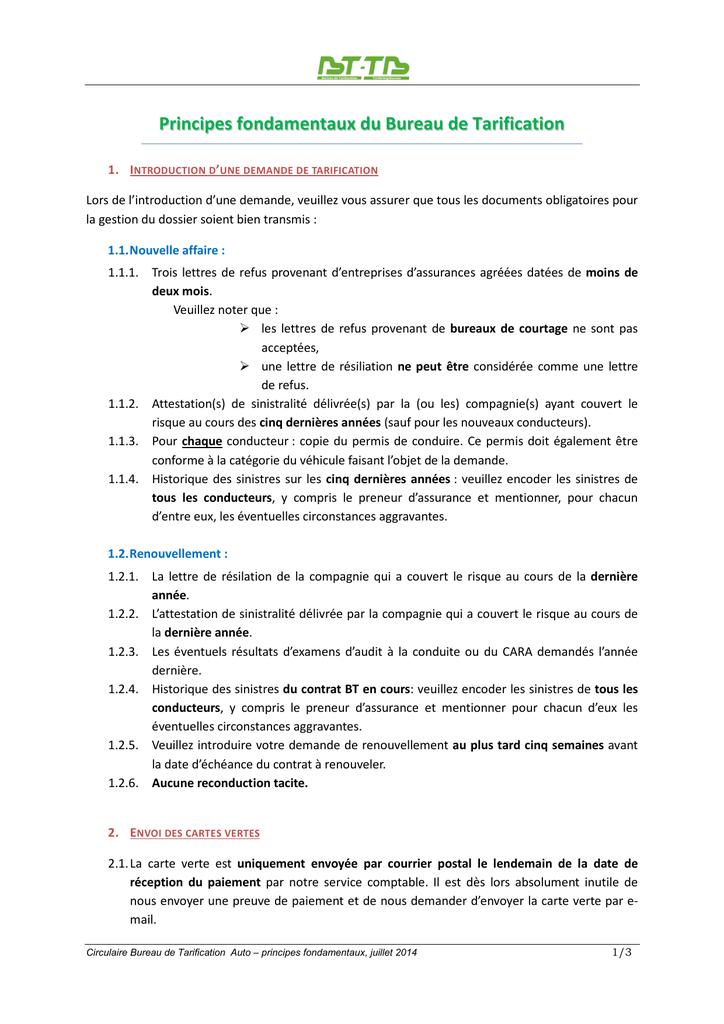 Principes Fondamentaux Bureau De Tarification