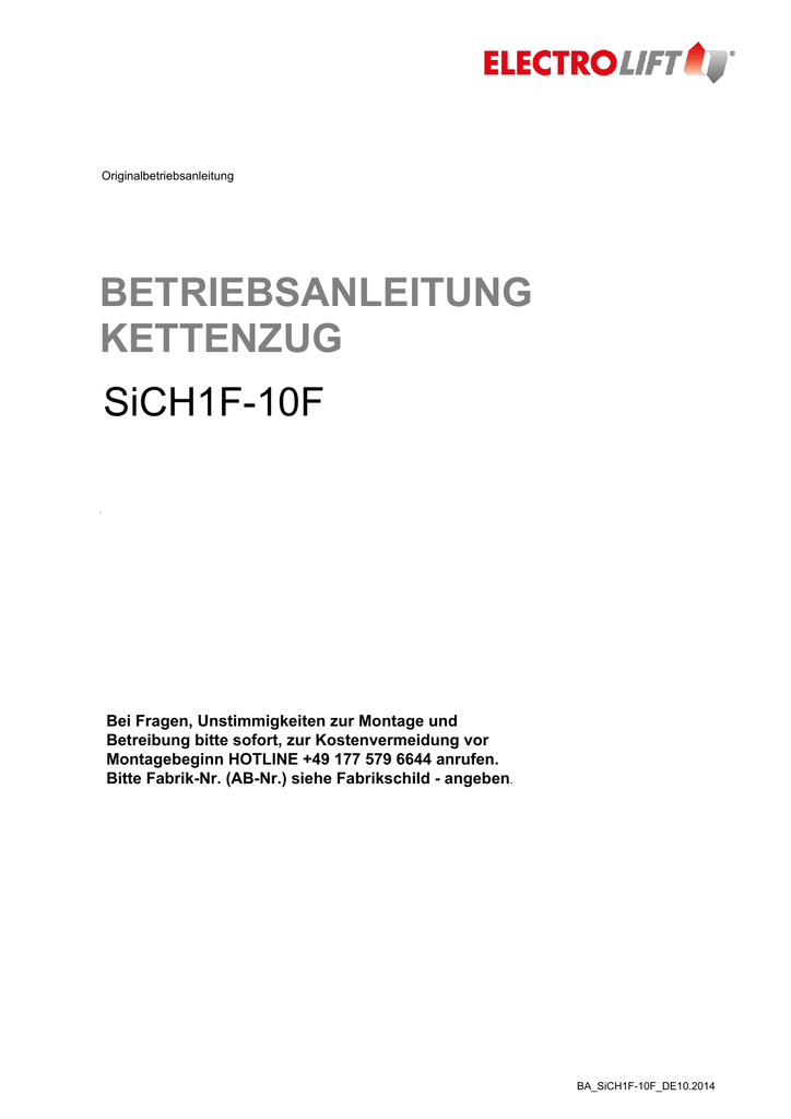 BETRIEBSANLEITUNG KETTENZUG SiCH1F-10F