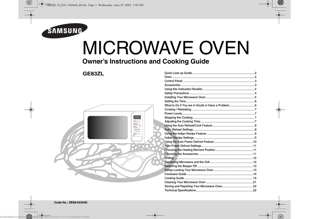 Samsung GE83ZL-N User Manual