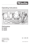 Operating Instructions Dishwasher G 5220 G 5225
