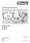 Operating Instructions Dishwasher G 5670 G 5675