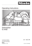 Operating Instructions Dishwasher G 2432
