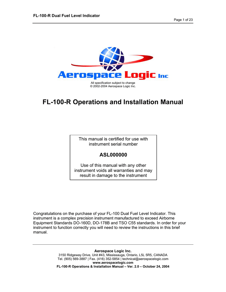 Fl 100 R Operations And Installation Manual