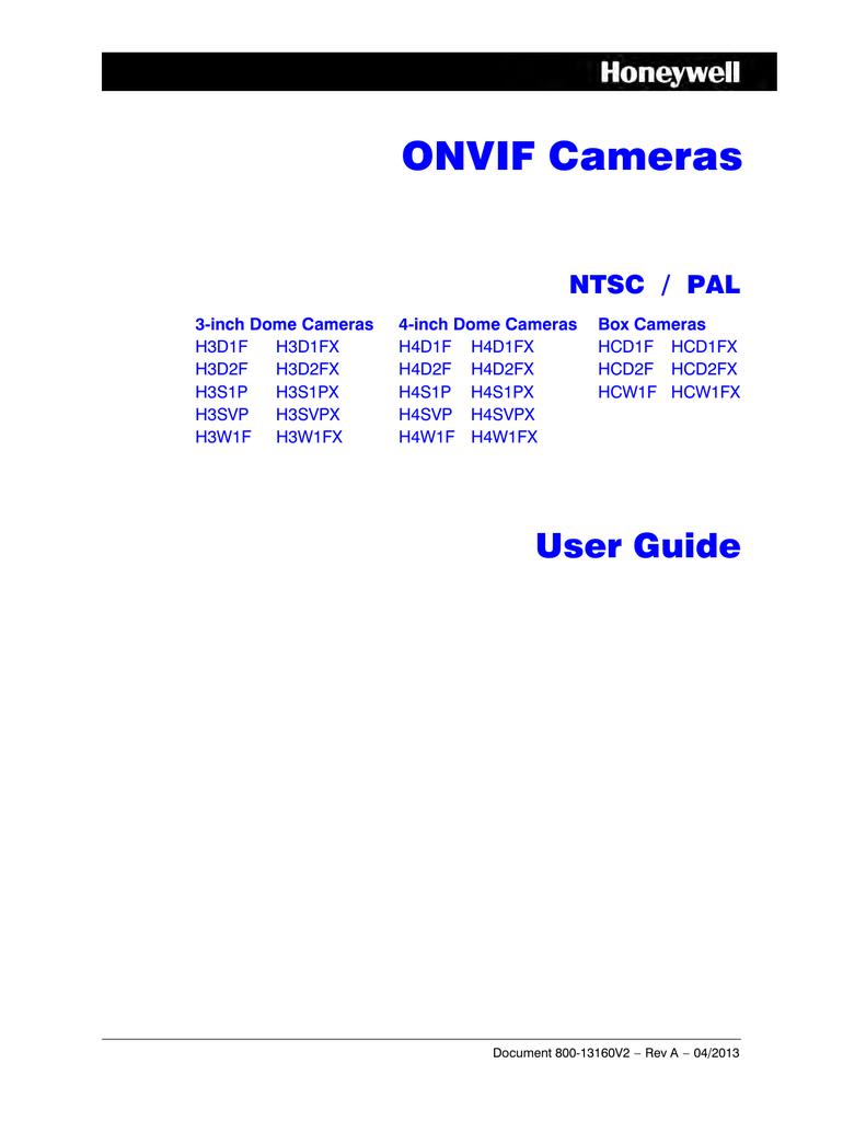 Honeywell ONVIF Cameras User Guide