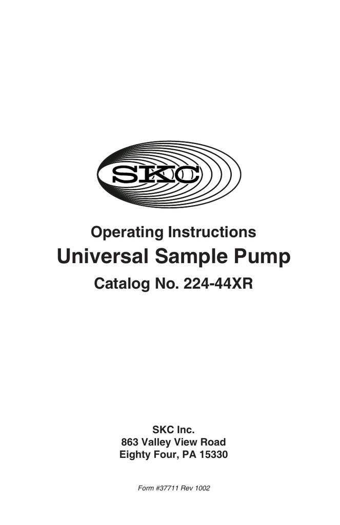59cfd45ca97d Universal Sample Pump 224-44XR Operating Instructions 37711