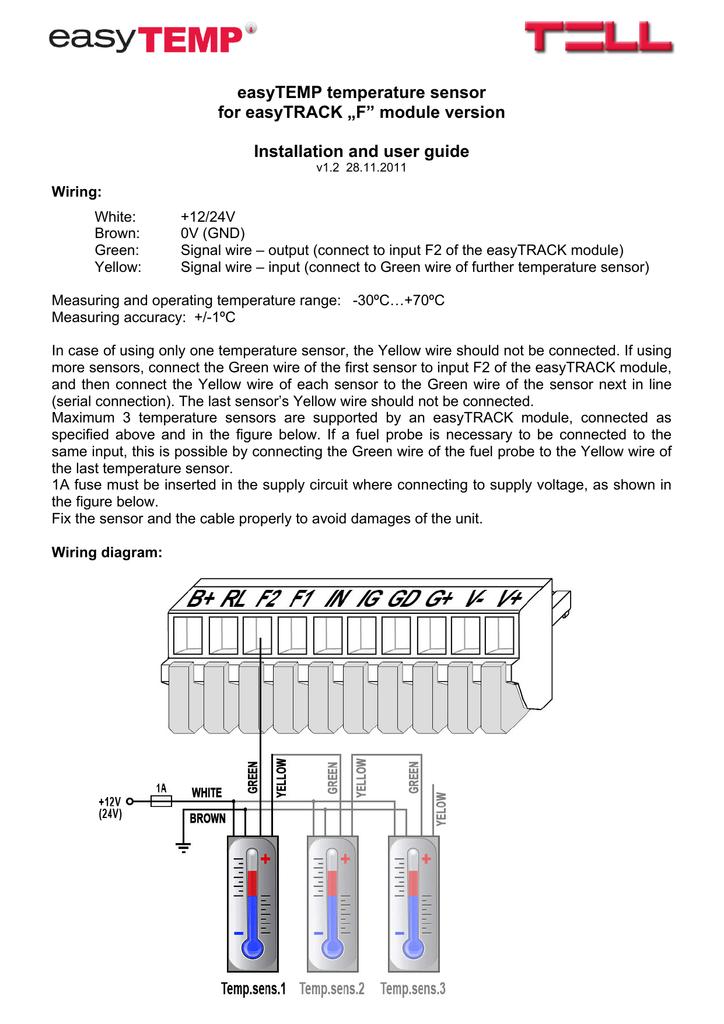 Easytemp Temperature Sensor For Easytrack F Module Version Two Wire Gauge Wiring Diagram