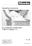 Operating instructions for condenser tumble dryer T 8812 C Edition