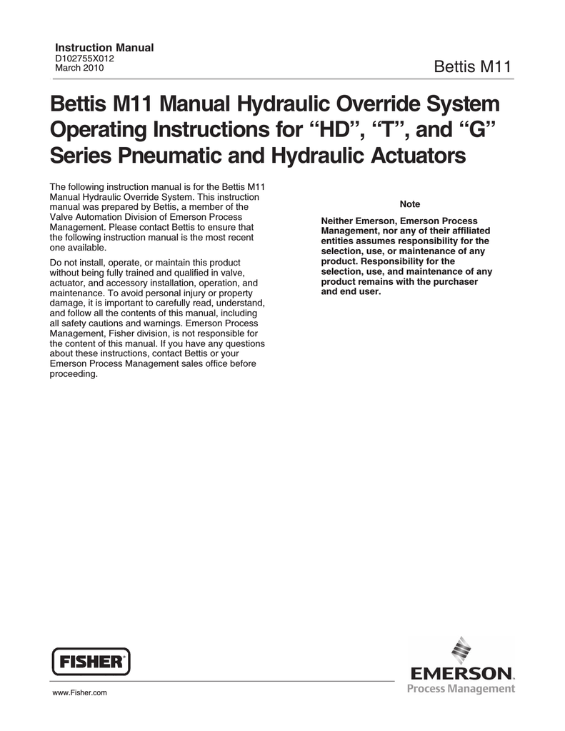 bettis m11 manual hydraulic override system operating instructions