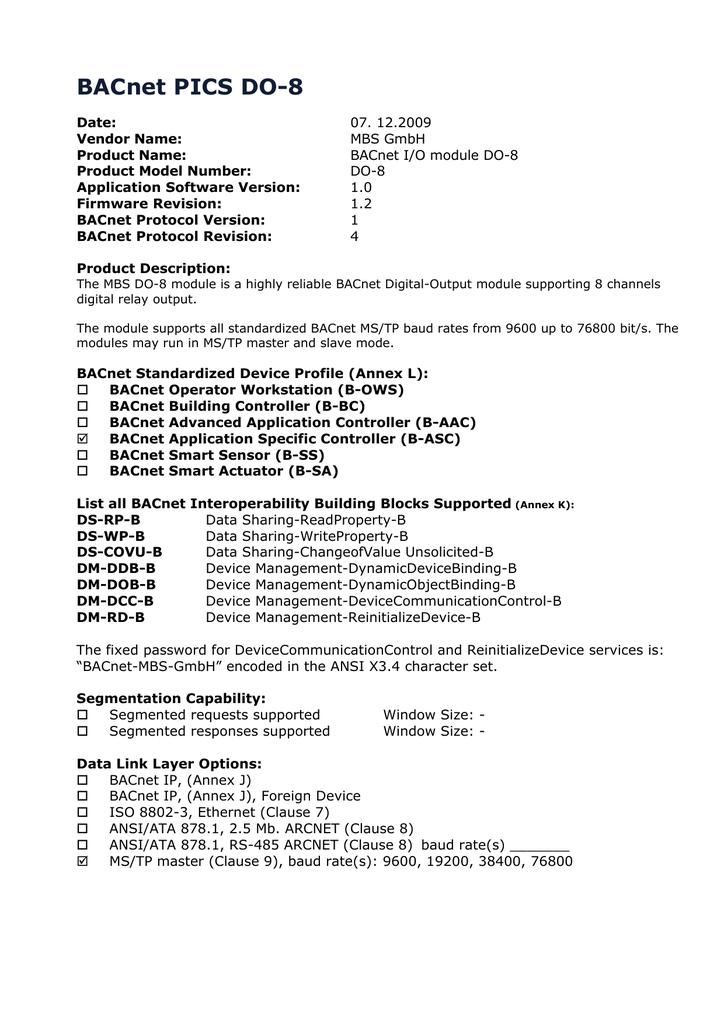 Installation Manual BACnet I/O Modules - mbs