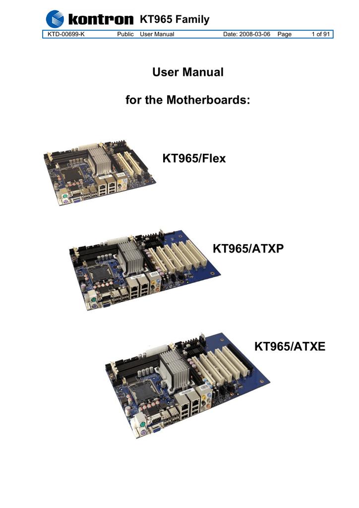 KT965/Flex KT965/ATXP KT965/ATXE User Manual for the