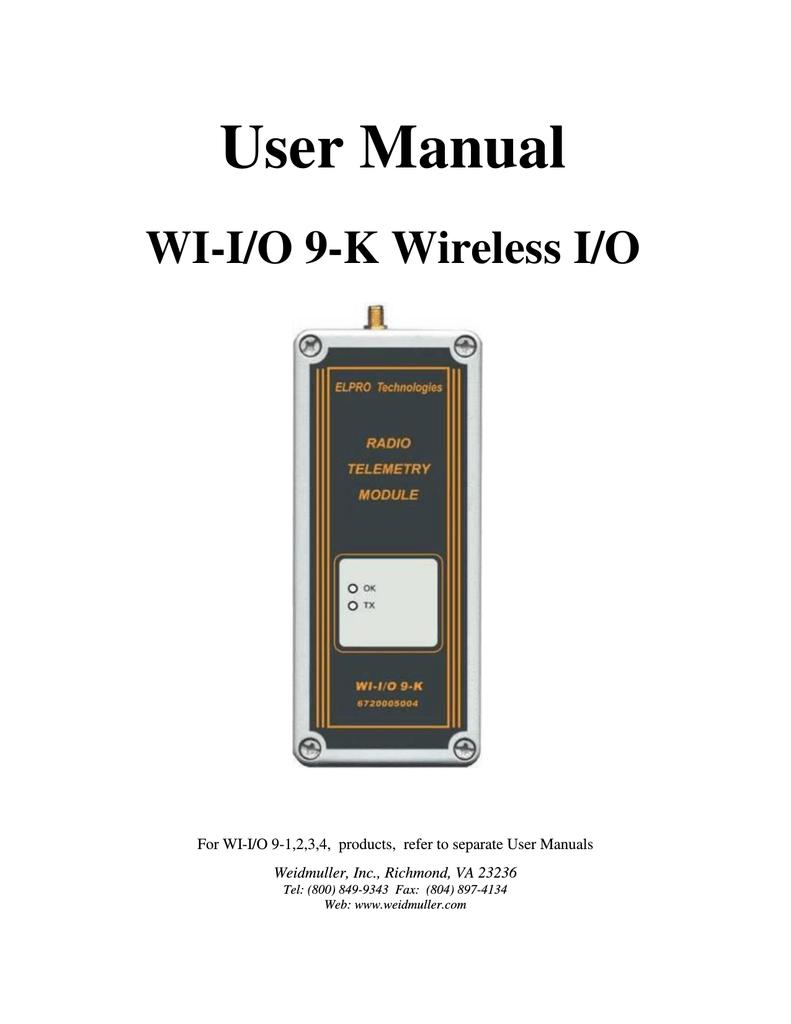 ELPRO Technologies 905U-1 WI-I//O 9-1 Wireless I//O Module Weidmuller