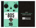 -805- Overdrive Pedal USer'S GUide