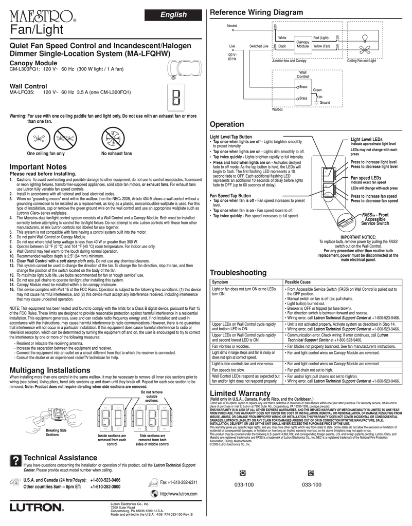 Lutron MA-LFQHW-WH Instructions / embly on