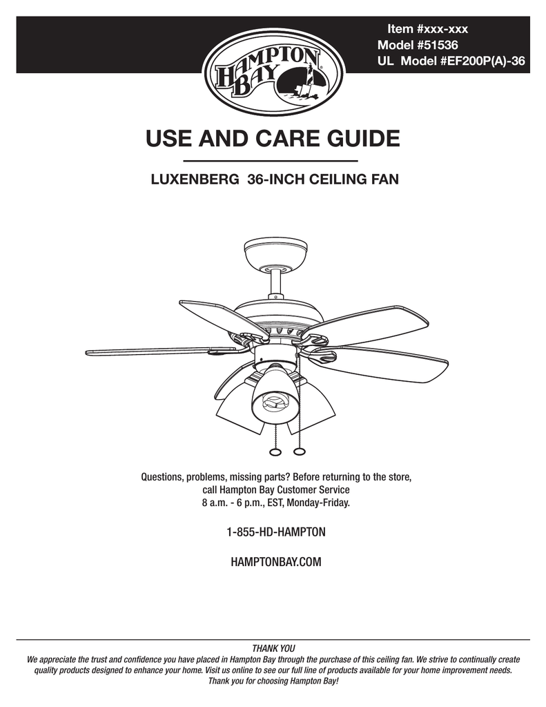 Hampton Bay Ceiling Fan Parts Diagram