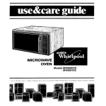 Whirlpool MW8900XS User's Manual