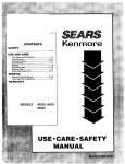 Sears KENMORE 46521 User's Manual