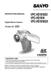 Sanyo VPC-HD1010EX User's Manual