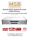 MSB Technology DVD Audio Player User's Manual