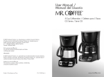 Mr. Coffee CGX9 User's Manual