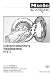 Miele Washer W 872 User's Manual