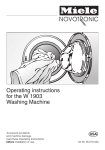 Miele Washer W 1903 User's Manual
