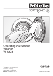 Miele W1203 User's Manual