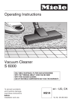 Miele Vacuum Cleaner S 6000 User's Manual