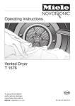 Miele NOVOTRONIC T 1576 User's Manual