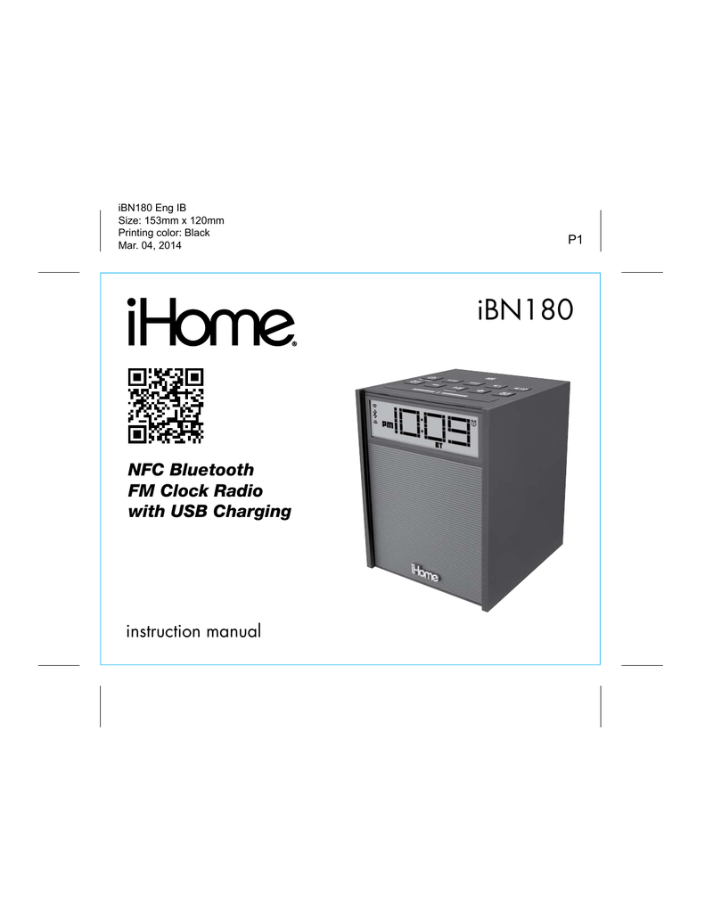 iHome iBN180 User's Manual