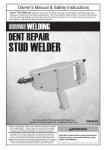 Harbor Freight Tools Stud Welder Dent Repair Kit Product manual