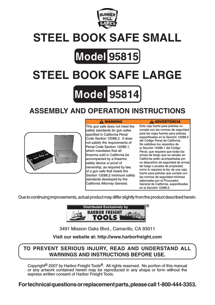 Harbor Freight Tools Large Steel Book Safe Product Manual