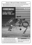 Harbor Freight Tools 9.6 Volt Cordless Variable Speed Rotary Tool Kit Product manual