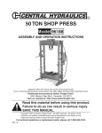Harbor Freight Tools 50 ton Dual Speed Industrial Hydraulic Shop Press Product manual