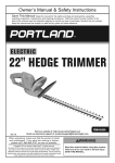 Harbor Freight Tools 22 in. Electric Hedge Trimmer Product manual