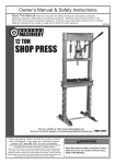 Harbor Freight Tools 12 ton H_Frame Industrial Heavy Duty Floor Shop Press Product manual