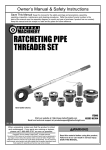 Harbor Freight Tools 1/2 in. _ 1 in. Ratcheting Pipe Threader Set Product manual
