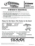 Escalade Sports B3200W User's Manual