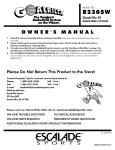Escalade Sports B2305W User's Manual