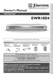 Emerson EWR10D4 Owner's Manual