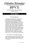 Definitive Technology Speaker BPVX User's Manual