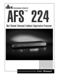 dbx Pro fessional Products TV Cables AFS 224 User's Manual