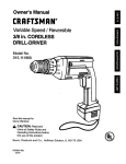 Craftsman 315.11196 User's Manual