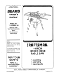 Craftsman 113.29921 User's Manual
