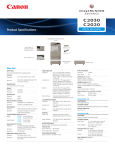 Canon C2030 Specification Sheet