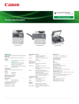 Canon imageRUNNER 1730 Specification Sheet