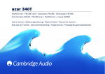 Cambridge Audio Azur 340T User's Manual