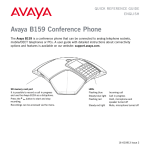 Avaya B159 Quick Reference Guide